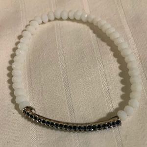 Think blue crystal bracelet with white beads
